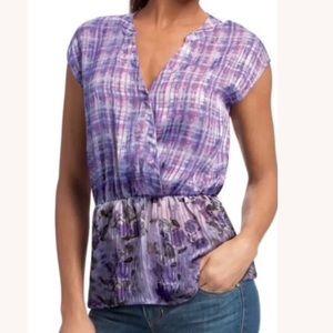 Cabi Astor Stripe Floral Purple Blouse #731